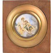 Miniature Portrait Watercolor Painting Nude Venus Consoling Cupid with Dove