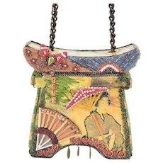 Mary Frances Japanese Geisha Theme Hard Box Pagoda Handbag w Embellishments
