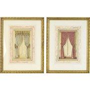 Pair 19th Century Original Watercolor Painting Window Curtains Interior Designs