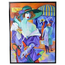 1980's Russian Abstract Fashion Portrait Of Woman in Hat Sgnd Sarra