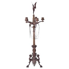 French Empire Neoclassical Style Monumental Bronze Candelabra w Heron Finial