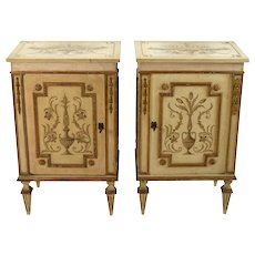 Pair Italian Florentine Painted Parcel Gilt NightStands End Table Cabinets