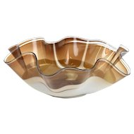 Christopher Morrison Studio Blown Large 24in Art Glass Freeform Bowl