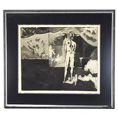 Vintage Abstract Modernist Dark Lithograph with Nude Woman Signed Kris Love