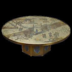 Vintage Mid-Century Philip & Kelvin LaVerne Chan Enameled Bronze Coffee Table