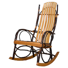 Vintage Bentwood Hickory Twig Rocker Chair made by A.C. Latshaw