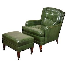 Vintage Hickory Chair Company Green Leather Club Lounge Chair w Ottoman