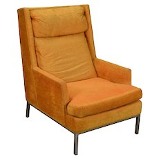 Vintage Mid-Century Modern Atomic Orange Armchair with Chrome Base