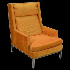 Vintage Mid-Century Modern Atomic Orange Armchair with Chrome Base