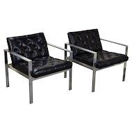 Pair Vintage Mid-Century Modern Milo Baughman Style Chrome Steel Armchairs
