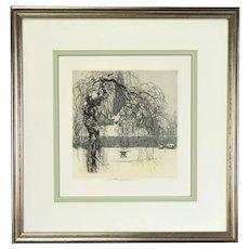 "Luigi Kasimir Austrian ""Winter Garden"" Color Etching Signed"