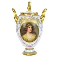 "Royal Vienna Hand Painted Porcelain Portrait Vase ""Preciosa"" signed Wagner"