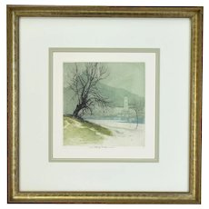 "Luigi Kasimir Austrian ""Pond, Austria"" Color Etching Signed"
