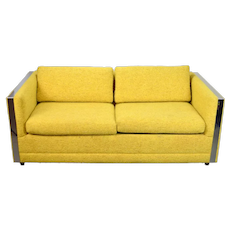 Vintage Mid-Century Modern Chrome and Yellow Upholstery Sofa
