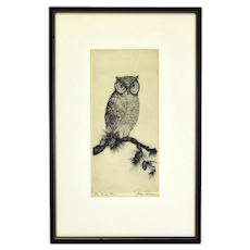 """James Swann Etching """"The Wise One"""" Owl on Pine Bough Pencil Signed"""