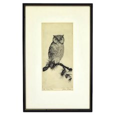"James Swann Etching ""The Wise One"" Owl on Pine Bough Pencil Signed"