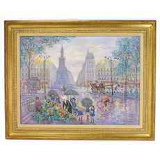 Jean LaReuse French Impressionist Painting Parisian Flower Market