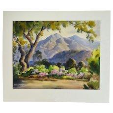 Vintage California Plein Air Watercolor Mountain Landscape Othello Michetti