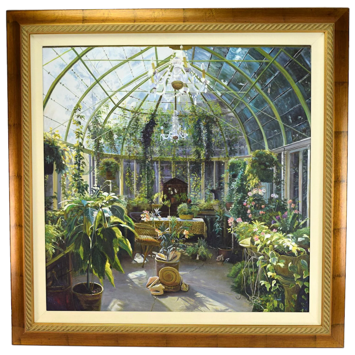Stupendous Oil Painting Victorian Conservatory Or Solarium With Plants Shells By Jenny Wong Interior Design Ideas Gresisoteloinfo
