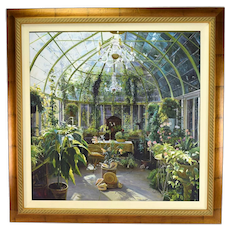 Oil Painting Victorian Conservatory or Solarium with Plants & Shells by Jenny Wong