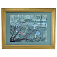 Vintage Mid-Century Painting People w Umbrellas Wandering Forest in the Rain