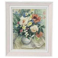 Peggy Wickham Watercolor Painting Vase of Flowers atop Manchester Guardian