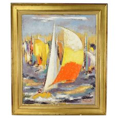 """""""Regates"""" French Mid-Century Abstract Impressionist Oil Painting Michel Labonne"""