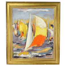 """Regates"" French Mid-Century Abstract Impressionist Oil Painting Michel Labonne"