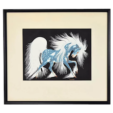 """Spirit Horse"" Screenprint Woody Crumbo Native American Artist"