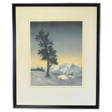 Hans Figura Arts & Crafts Era Color Etching Aquatint Lone Tree Mountain Landscape