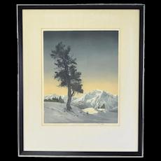 Hans Figura Arts & Crafts Era Color Etching Aquatint Lone Tree Mountain Landscape
