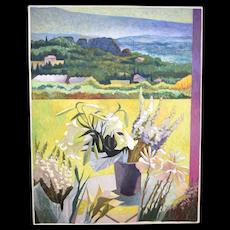 Large 1987 Jean Lamouroux Painting Wildflowers Rolling Farmland Landscape