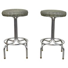 Pair Vintage Mid-Century Modern Chrome Short Stools