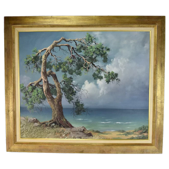 Fred Fredden Goldberg Oil Painting Windswept Beach Tree California Artist
