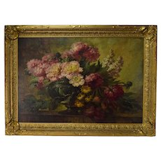 1920's Large Oil Painting Still Life Urn Full of Wildflowers by Paul Gericke