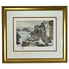 "Luigi Kasimir Austrian ""Aggstein Castle on the Danube""1915 Color Etching Signed"