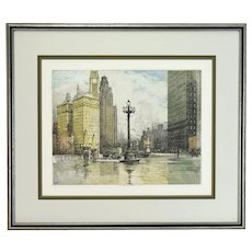 "Luigi Kasimir Austrian ""Michigan Avenue"" Chicago 1920's Color Etching Signed"