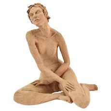 Vintage Art Pottery Terra Cotta Nude Figure Seated Woman M. Lidov Chicago