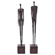 Pair Vintage Mid Century Modern Brutalist Abstract Male Female Metal Sculptures