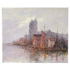 Impressionist Oil Painting Venetian Lagoon w Boats & San Pietro di Castello Morgan