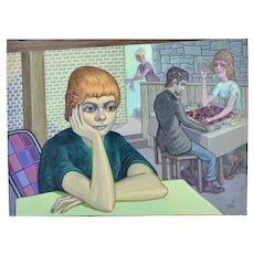 "Vintage 1950's Oil Painting ""Dreamy Gal"" Dick Fort Chicago Nightclub Series"