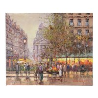 Impressionist Painting Parisian Street Scene Flower Vendor Near Pantheon Morgan