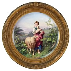 Antique Finely Painted Continental Porcelain Plaque Young Woman w Baby Lamb
