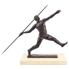 Sterrett Gittings Kelsey Olympic Javelin Thrower Bronze Sculpture 1976