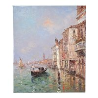 Impressionist Oil Painting Venetian Lagoon w Gondola and Striped Pole Morgan