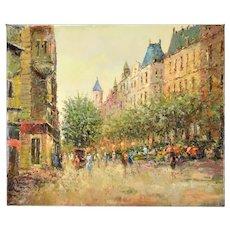 Impressionist Painting Parisian Summer Street Scene Architecture Row Houses Morgan