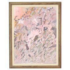 Vintage Mid-Century Modern Leaves Abstract Oil Painting in Pinks