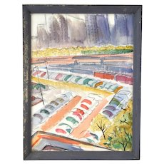 Vintage 1950 Abstract Watercolor Painting Chicago Michigan Ave Shore Line Dick Fort