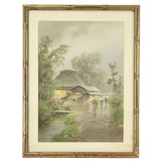 Vintage Japanese Watercolor Villagers Running in Rain Signed