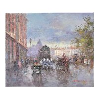 Impressionist Oil Painting Parisian Street Scene w Horse Drawn Carriages Morgan